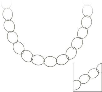 Mondevio Black Rhodium over Sterling Silver 36-inch Italian Loop Necklace