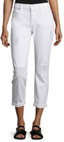 7 For All Mankind Josefina Destroyed Cropped Jeans, Clean White 3