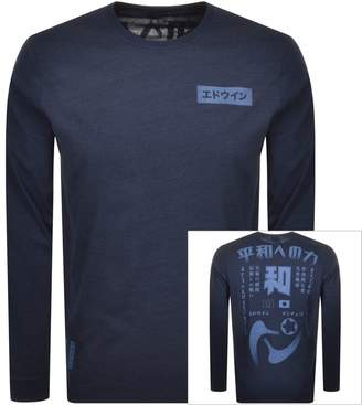 Edwin Crew Neck Harmony Long Sleeve T Shirt Navy