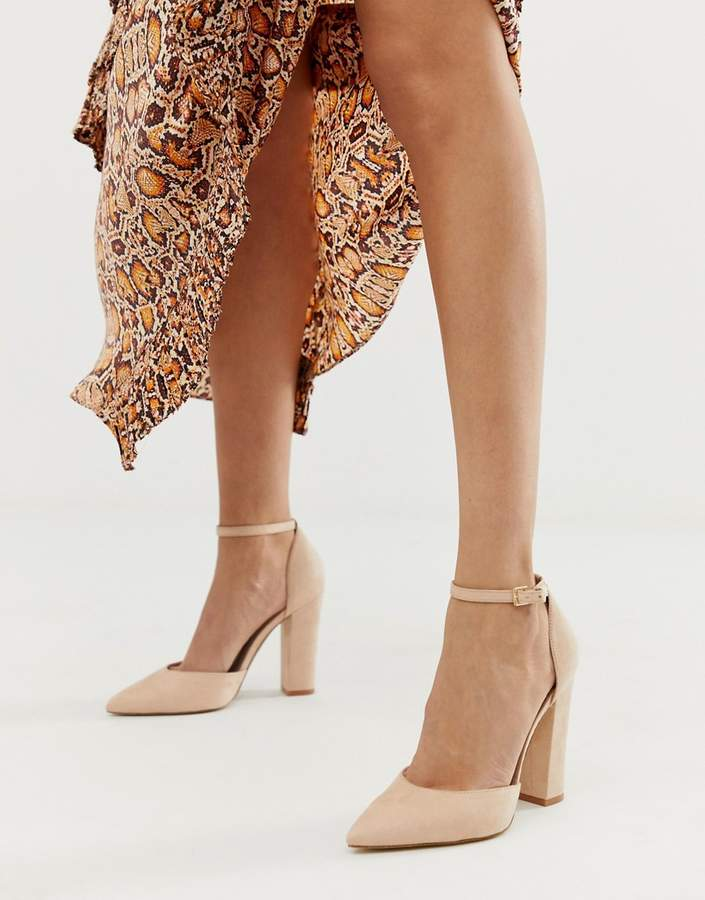Nicholes Heeled With Ankle In Block Beige Strap Court Shoes 2EIYbWD9He