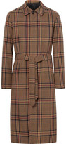 Ami Checked Wool-blend Coat - Brown