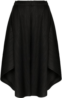 Pleats Please Issey Miyake Plisse Curved Cropped Trousers