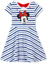 Freeze Minnie Mouse White Stripe Skater Dress - Girls
