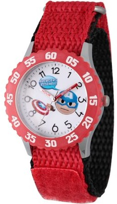 Marvel Emoji Kids' Captain America Stainless Steel Time Teacher Watch, Red Bezel, Red Hook and Loop Nylon Strap with Black Backing