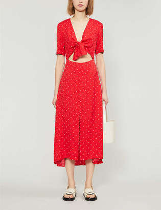Maje Rinoui polka-dot midi dress