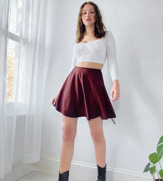 Asos Tall ASOS DESIGN Tall satin wrap mini skirt in oxblood