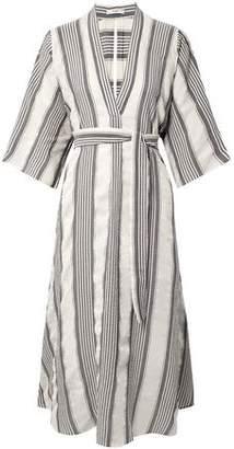Tome Cutout Striped Seersucker Midi Dress