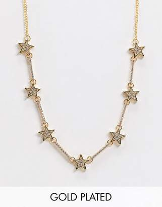 Asos Design DESIGN gold plated necklace with cubic zirconia stars