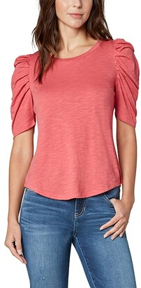 Liverpool Gathered Short Sleeve Knit Tee (Hot Coral) Women's Clothing