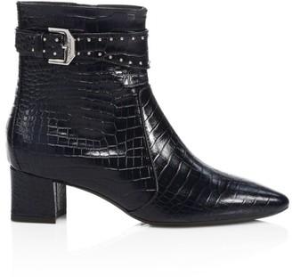 Aquatalia Prisca Croc-Embossed Leather Ankle Boots