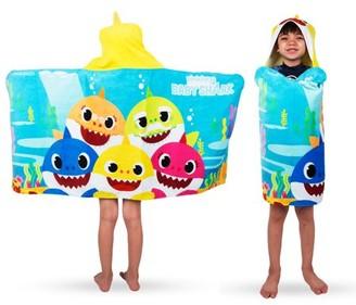 Baby Shark Kids Bath and Beach Hooded Towel Wrap, 100% Cotton