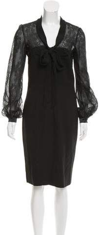 Valentino Lace-Paneled Midi Dress