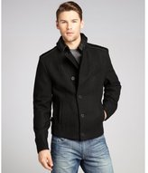 Cockpit black wool blend and leather trim asymmetrical double breasted coat