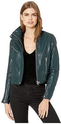Blank NYC High Collar Vegan Leather Moto Jacket in Sky Walker (Green) Women's Clothing
