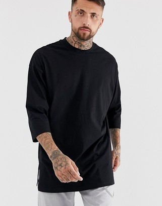 Asos DESIGN oversized super longline t-shirt with 3/4 sleeve in black
