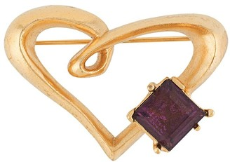 Christian Lacroix Pre Owned Gemstone-Embellished Heart-Shaped Brooch