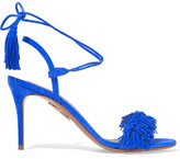 Aquazzura Wild Thing Fringed Suede Sandals - Bright blue