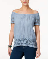 Style&Co. Style & Co Petite Cotton Off-The-Shoulder Crinkle Top, Created for Macy's