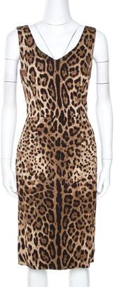 Dolce & Gabbana Brown Animal Print Sleeveless Dress L