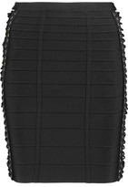 Herve Leger Lace-Up Bandage Mini Skirt