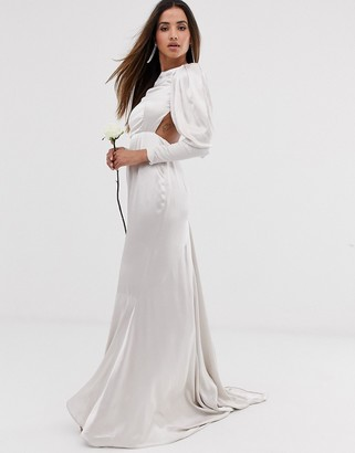 Asos Edition EDITION satin fishtail wedding dress with dramatic sleeve-White