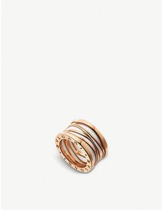Bvlgari B.zero1 Design Legend four-band 18ct rose-gold and white ceramic ring