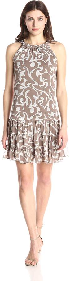 MSK Women's Scrunched Neck Flounce Woven Dress with Paisley Print