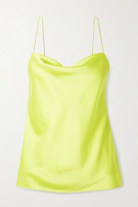 CAMI NYC The Axel Acid Draped Neon Stretch Silk-charmeuse Camisole - Green
