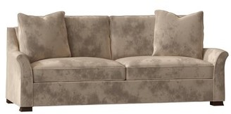 "Meryl 90"" Flared Arm Sofa EJ Victor Body Fabric: Banks Oatmeal, Throw Pillow Fabric: Glynn Linen Antique White"