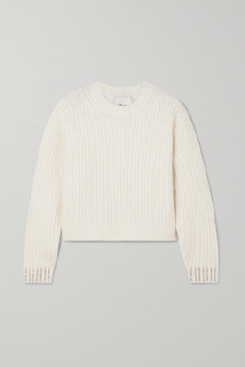 3.1 Phillip Lim Cropped Crystal-embellished Ribbed Wool-blend Sweater - White