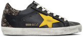 Golden Goose Black and Yellow Glitter Superstar Sneakers