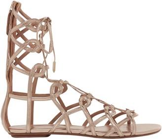 Aquazzura Mumbai Lace-up Metallic Leather Sandals