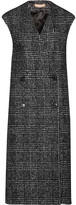 Michael Kors Houndstooth Wool-blend Double-breasted Vest - Charcoal
