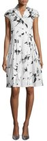 Lela Rose Jane Cap-Sleeve Floral-Print Shirtdress, Silver