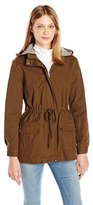 Blu Pepper Women's Utility Jacket with Knit Striped Hood Lining