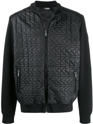 Karl Lagerfeld Paris Quilted Panel Bomber Jacket