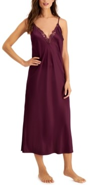 INC International Concepts Inc Lace-Trim Satin Long Chemise Nightgown, Created for Macy's
