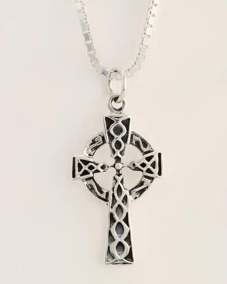 Jean Claude Silver-Tone Kelt Cross Pendant Necklace