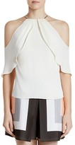 Halston Cold Shoulder Silk-Blend Top