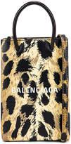 Balenciaga Leopard Shop Phone Holder Bag in Brown | FWRD