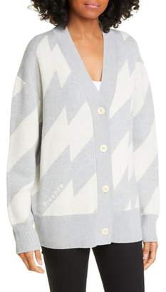 Proenza Schouler White Label Glitch Jacquard Merino Wool Blend Cardigan