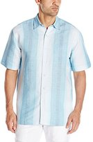 Cubavera Men's Short Sleeve Printed Stripe Woven Shirt with Pocket