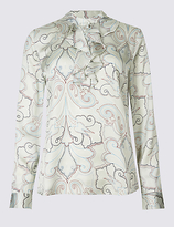 Classic Printed Frill Long Sleeve Satin Blouse