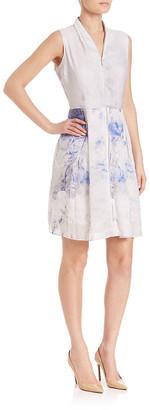 Elie Tahari Linen & Silk-Blend A-Line Dress