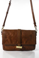 Badgley Mischka Brown Leather Gold Accent Medium Shoulder Handbag