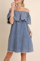 Umgee USA Chambray Cold Shoulder Dress
