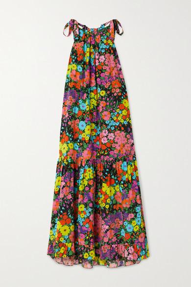 Les Rêveries Tiered Ruffled Floral-print Silk Crepe De Chine Midi Dress - Black