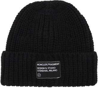 MONCLER GENIUS Fragment Logo Patch Wool Beanie Hat