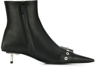 Balenciaga Shiny Leather Belted Booties