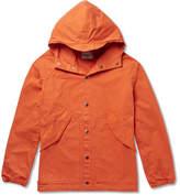 Albam - Washed-cotton Hooded Parka - Orange